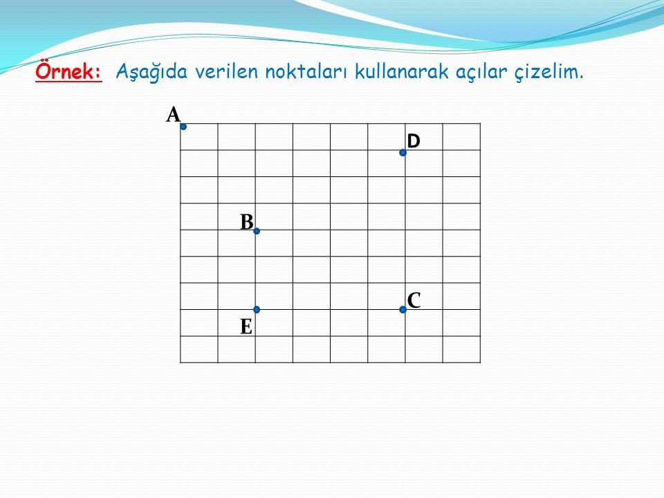 Örnek: Aşağıda verilen noktaları kullanarak açılar çizelim. A B D C E