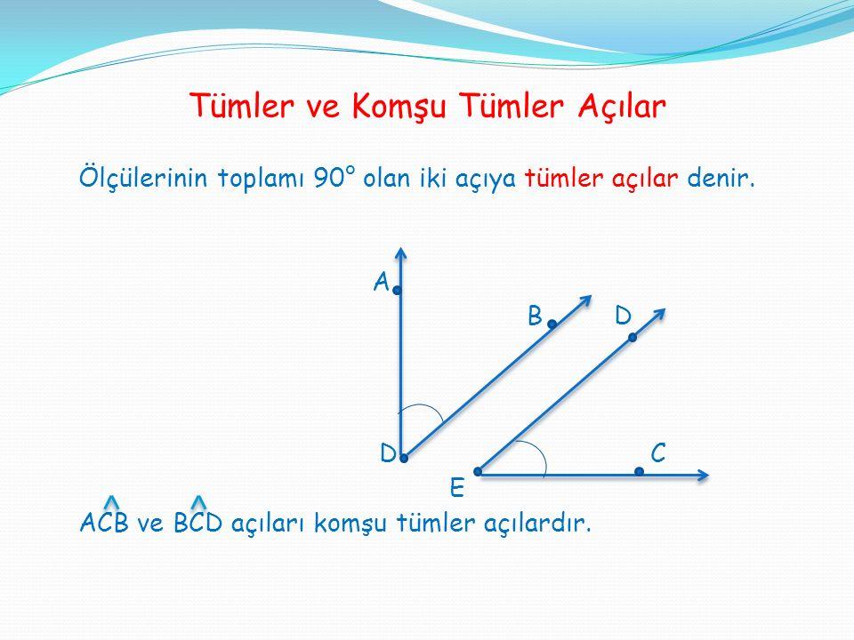 Tümler ve Komşu Tümler Açılar Ölçülerinin toplamı 90° olan iki açıya tümler açılar denir. A B D DC E ACB ve BCD açıları komşu tümler açılardır.
