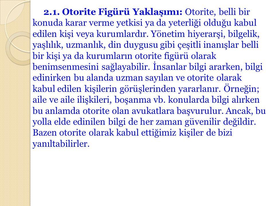 2.1. Otorite Figürü Yaklaşımı: Otorite, belli bir konuda karar verme yetkisi ya da yeterliği olduğu kabul edilen kişi veya kurumlardır. Yönetim hiyera