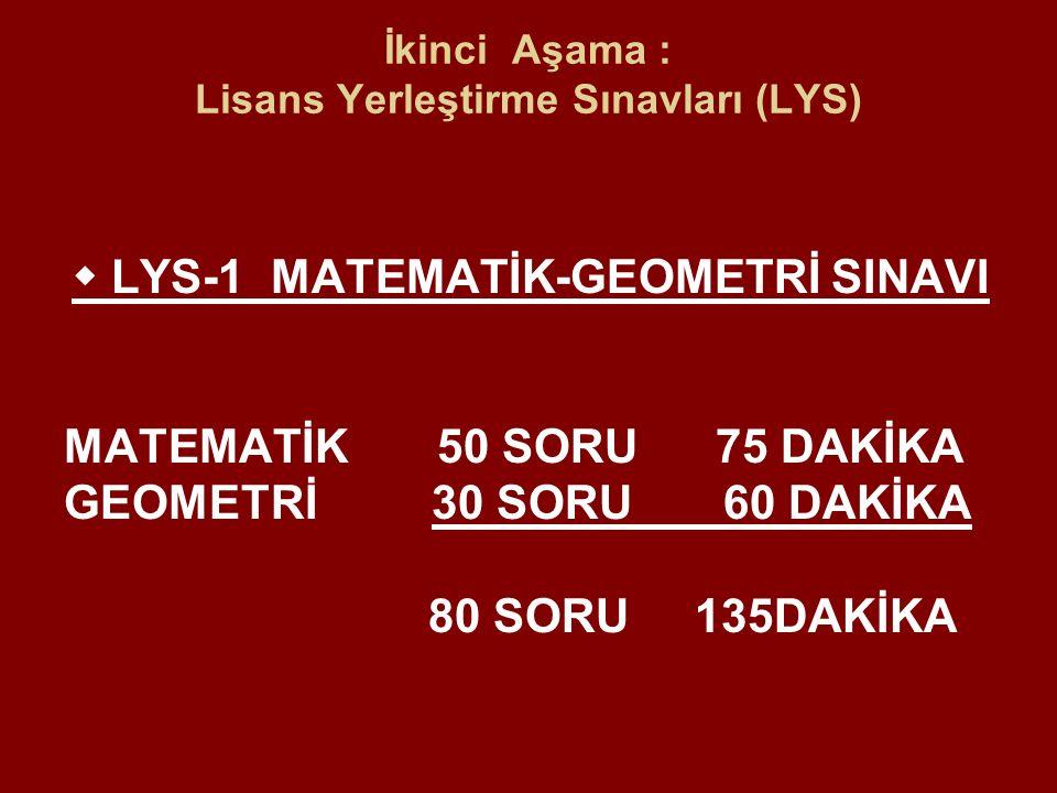  LYS-1 MATEMATİK-GEOMETRİ SINAVI MATEMATİK 50 SORU 75 DAKİKA GEOMETRİ 30 SORU 60 DAKİKA 80 SORU 135DAKİKA