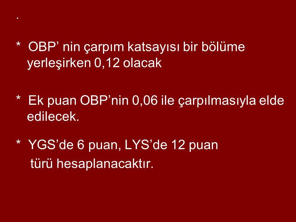 * OBP' nin çarpım katsayısı bir bölüme yerleşirken 0,12 olacak * Ek puan OBP'nin 0,06 ile çarpılmasıyla elde edilecek.