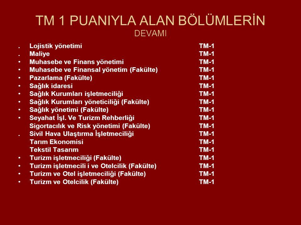 TM 1 PUANIYLA ALAN BÖLÜMLERİN DEVAMI.Lojistik yönetimiTM-1.