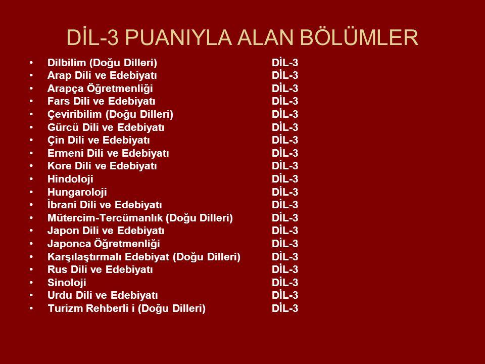DİL-3 PUANIYLA ALAN BÖLÜMLER Dilbilim (Doğu Dilleri) DİL-3 Arap Dili ve Edebiyatı DİL-3 Arapça Öğretmenliği DİL-3 Fars Dili ve Edebiyatı DİL-3 Çeviribilim (Doğu Dilleri) DİL-3 Gürcü Dili ve Edebiyatı DİL-3 Çin Dili ve Edebiyatı DİL-3 Ermeni Dili ve EdebiyatıDİL-3 Kore Dili ve Edebiyatı DİL-3 Hindoloji DİL-3 HungarolojiDİL-3 İbrani Dili ve EdebiyatıDİL-3 Mütercim-Tercümanlık (Doğu Dilleri) DİL-3 Japon Dili ve Edebiyatı DİL-3 Japonca Öğretmenliği DİL-3 Karşılaştırmalı Edebiyat (Doğu Dilleri) DİL-3 Rus Dili ve Edebiyatı DİL-3 Sinoloji DİL-3 Urdu Dili ve Edebiyatı DİL-3 Turizm Rehberli i (Doğu Dilleri) DİL-3