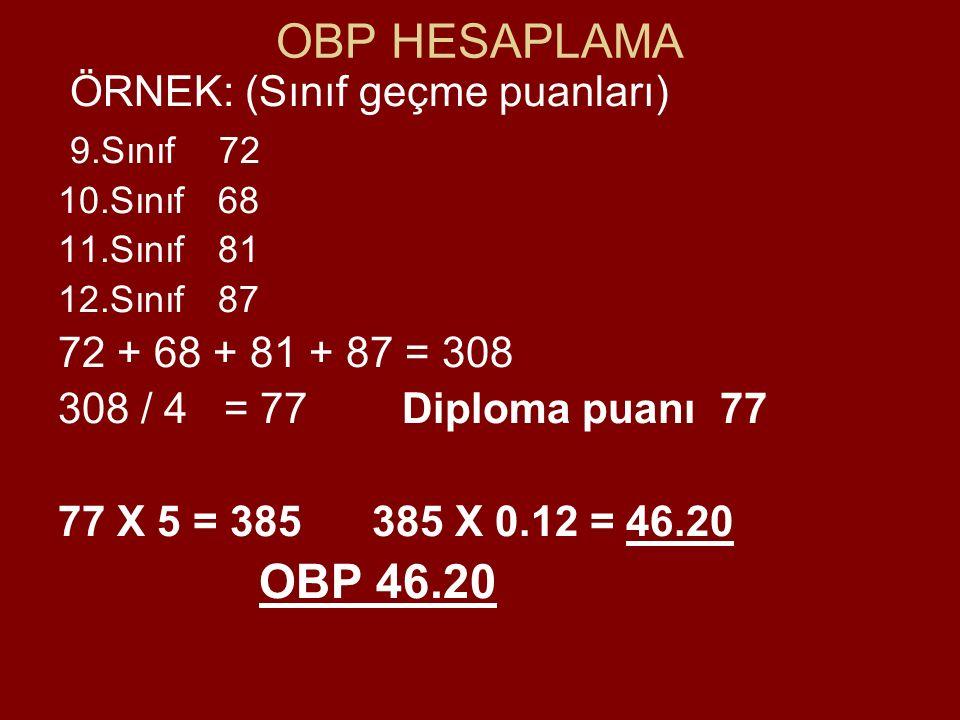 OBP HESAPLAMA ÖRNEK: (Sınıf geçme puanları) 9.Sınıf 72 10.Sınıf 68 11.Sınıf 81 12.Sınıf 87 72 + 68 + 81 + 87 = 308 308 / 4 = 77 Diploma puanı 77 77 X 5 = 385 385 X 0.12 = 46.20 OBP 46.20