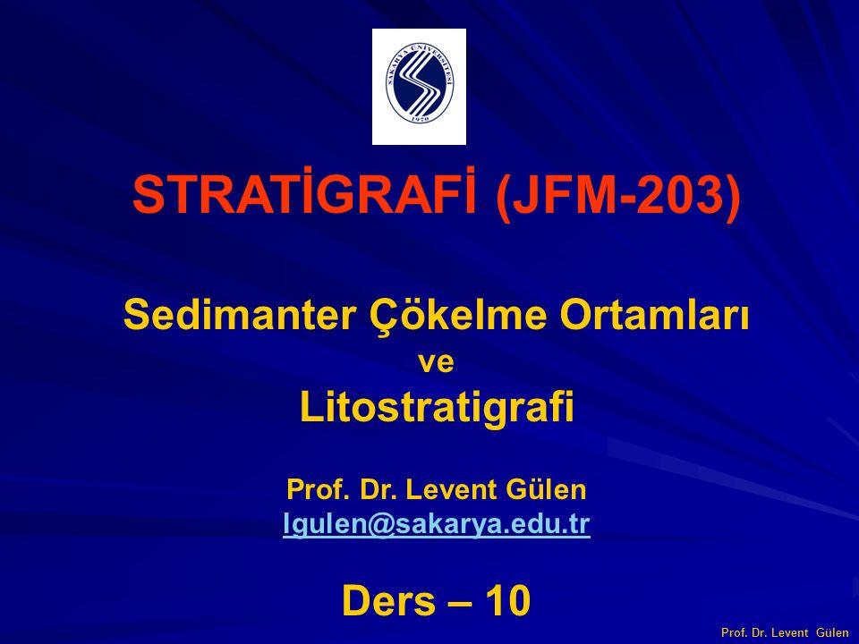STRATİGRAFİ (JFM-203) Sedimanter Çökelme Ortamları ve Litostratigrafi Prof. Dr. Levent Gülen lgulen@sakarya.edu.tr Ders – 10 Prof. Dr. Levent Gülen