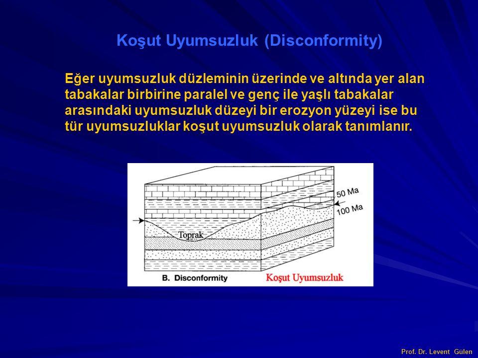 Prof. Dr. Levent Gülen Koşut Uyumsuzluk (Disconformity) Eğer uyumsuzluk düzleminin üzerinde ve altında yer alan tabakalar birbirine paralel ve genç il
