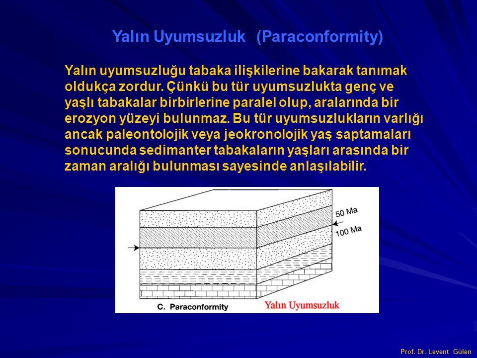 Prof. Dr. Levent Gülen Yalın Uyumsuzluk (Paraconformity) Yalın uyumsuzluğu tabaka ilişkilerine bakarak tanımak oldukça zordur. Çünkü bu tür uyumsuzluk