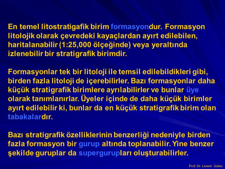 Prof. Dr. Levent Gülen En temel litostratigafik birim formasyondur. Formasyon litolojik olarak çevredeki kayaçlardan ayırt edilebilen, haritalanabilir