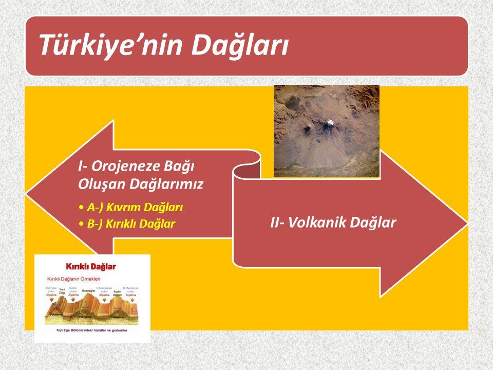 Türkiye'nin Dağları I- Orojeneze Bağı Oluşan Dağlarımız A-) Kıvrım Dağları B-) Kırıklı Dağlar II- Volkanik Dağlar