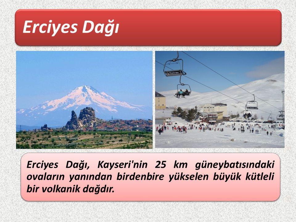 Erciyes Dağı Erciyes Dağı, Kayseri'nin 25 km güneybatısındaki ovaların yanından birdenbire yükselen büyük kütleli bir volkanik dağdır.
