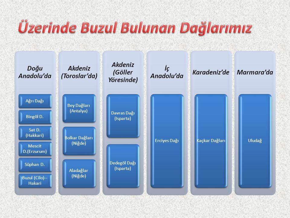 Doğu Anadolu'da Ağrı DağıBingöl D. Sat D. (Hakkari) Mescit D.(Erzurum) Süphan D. Buzul (Cilo)-- Hakari Akdeniz (Toroslar'da) Bey Dağları (Antalya) Bol