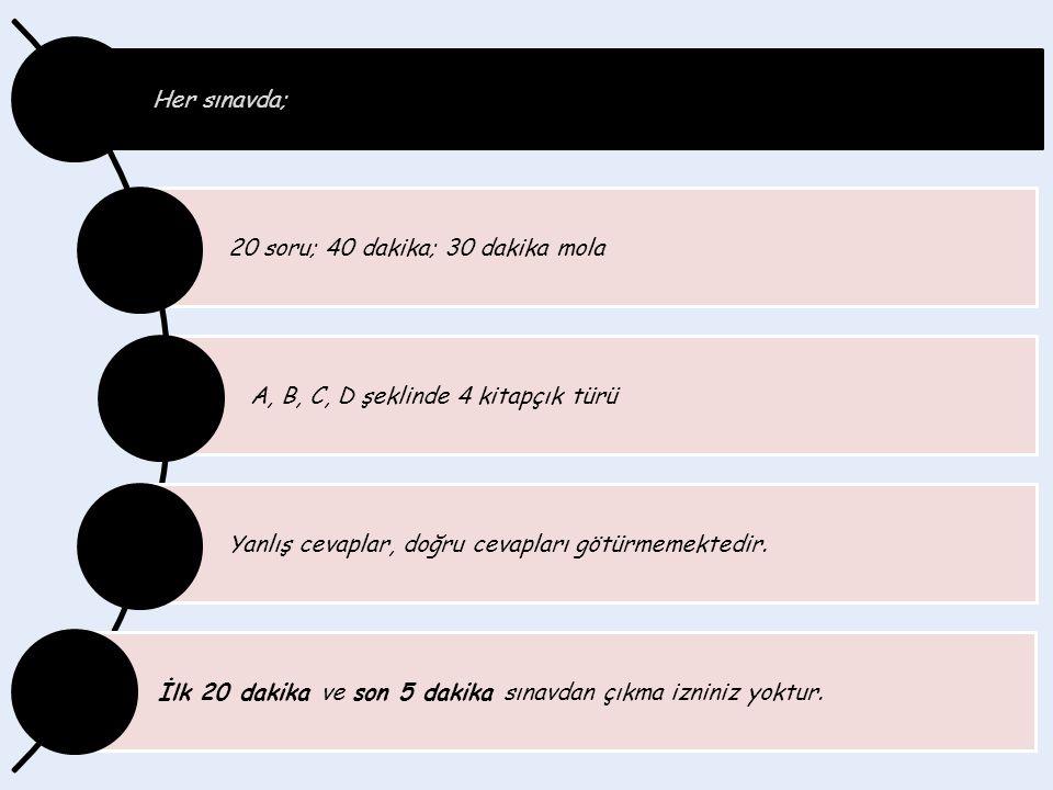 Her sınavda; 20 soru; 40 dakika; 30 dakika mola A, B, C, D şeklinde 4 kitapçık türü Yanlış cevaplar, doğru cevapları götürmemektedir.