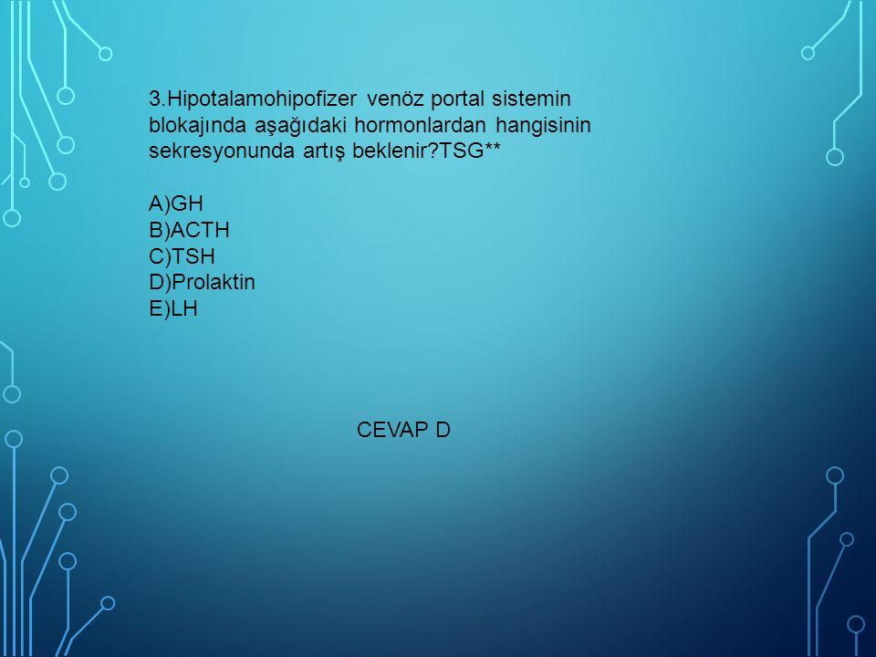 3.Hipotalamohipofizer venöz portal sistemin blokajında aşağıdaki hormonlardan hangisinin sekresyonunda artış beklenir?TSG** A)GH B)ACTH C)TSH D)Prolaktin E)LH CEVAP D