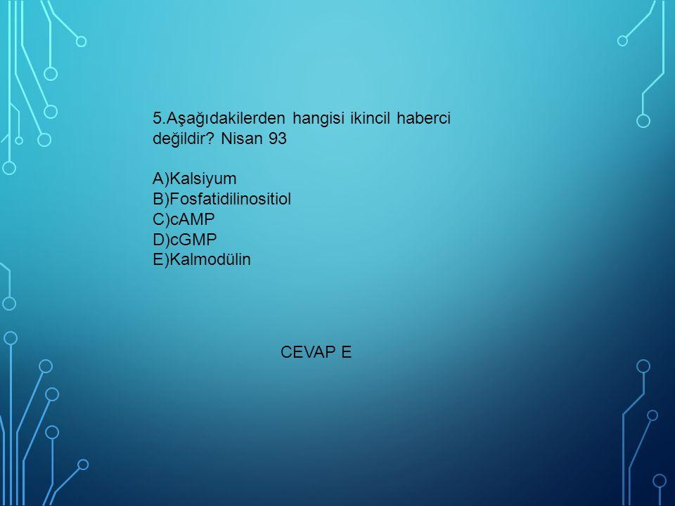 5.Aşağıdakilerden hangisi ikincil haberci değildir? Nisan 93 A)Kalsiyum B)Fosfatidilinositiol C)cAMP D)cGMP E)Kalmodülin CEVAP E
