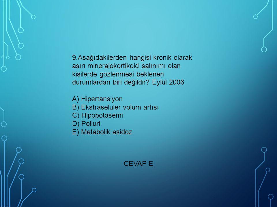 9.Asağıdakilerden hangisi kronik olarak asırı mineralokortikoid salınımı olan kisilerde gozlenmesi beklenen durumlardan biri değildir? Eylül 2006 A) H