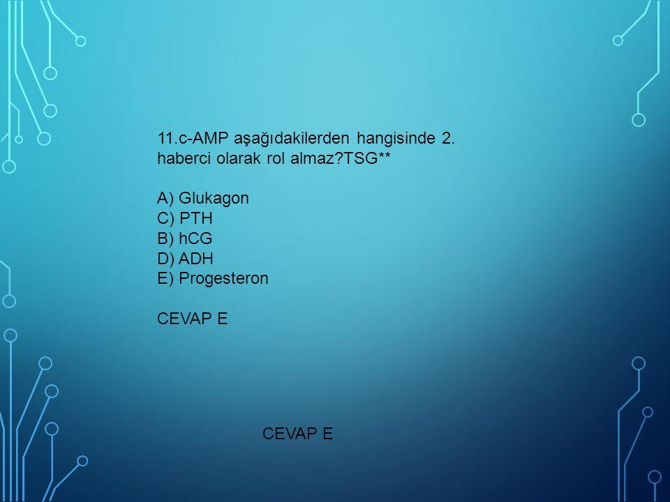 CEVAP E 11.c-AMP aşağıdakilerden hangisinde 2. haberci olarak rol almaz?TSG** A) Glukagon C) PTH B) hCG D) ADH E) Progesteron CEVAP E