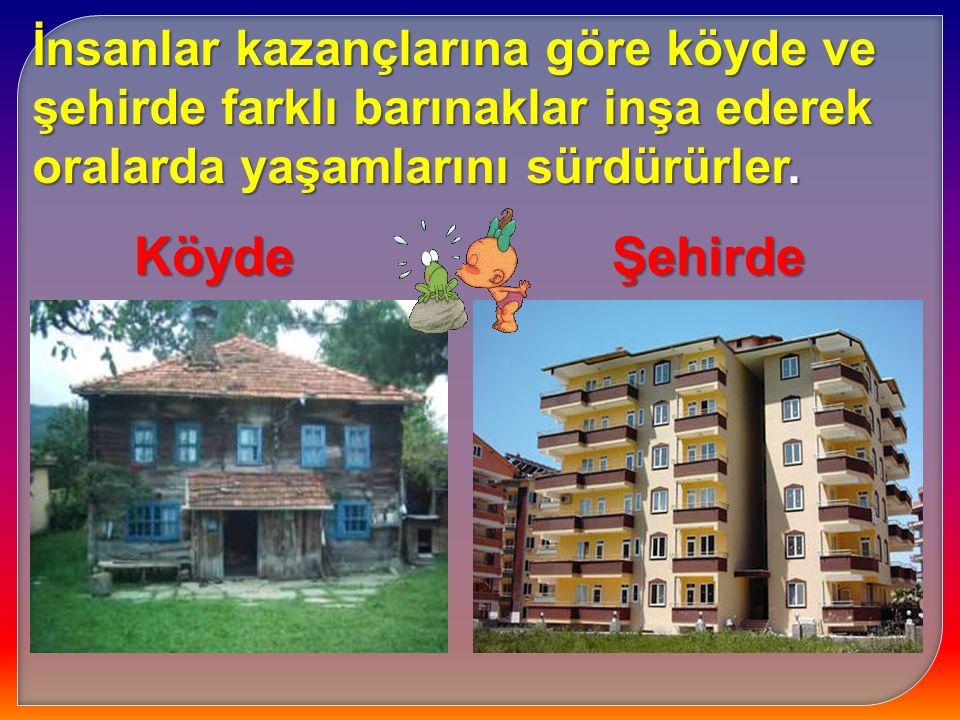 İnsanlar kazançlarına göre köyde ve şehirde farklı barınaklar inşa ederek oralarda yaşamlarını sürdürürler. KöydeŞehirde