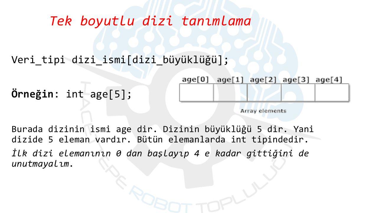 Tek boyutlu dizi tanımlama Veri_tipi dizi_ismi[dizi_büyüklüğü]; Örneğin: int age[5]; Burada dizinin ismi age dir.