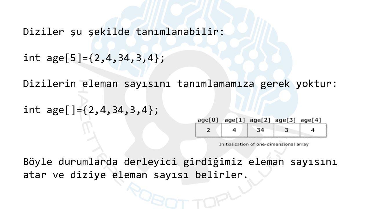 Diziler şu şekilde tanımlanabilir: int age[5]={2,4,34,3,4}; Dizilerin eleman sayısını tanımlamamıza gerek yoktur: int age[]={2,4,34,3,4}; Böyle durumlarda derleyici girdiğimiz eleman sayısını atar ve diziye eleman sayısı belirler.