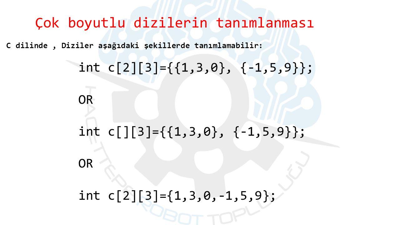 C dilinde, Diziler aşağıdaki şekillerde tanımlamabilir: int c[2][3]={{1,3,0}, {-1,5,9}}; OR int c[][3]={{1,3,0}, {-1,5,9}}; OR int c[2][3]={1,3,0,-1,5,9}; Çok boyutlu dizilerin tanımlanması