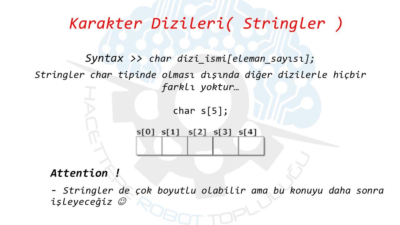 Stringler char tipinde olması dışında diğer dizilerle hiçbir farklı yoktur… char s[5]; Attention .