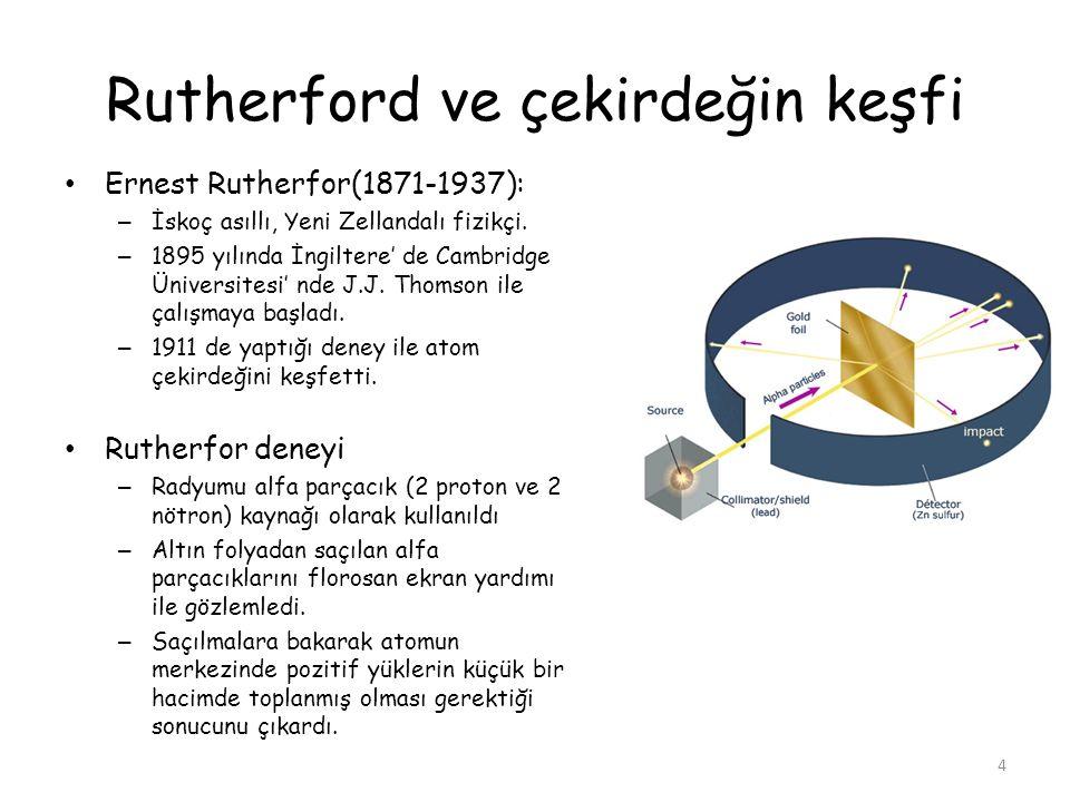 Rutherford ve çekirdeğin keşfi Ernest Rutherfor(1871-1937): – İskoç asıllı, Yeni Zellandalı fizikçi. – 1895 yılında İngiltere' de Cambridge Üniversite