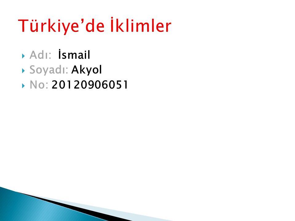  Adı: İsmail  Soyadı: Akyol  No: 20120906051