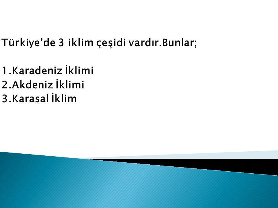 Türkiye'de 3 iklim çeşidi vardır.Bunlar; 1.Karadeniz İklimi 2.Akdeniz İklimi 3.Karasal İklim