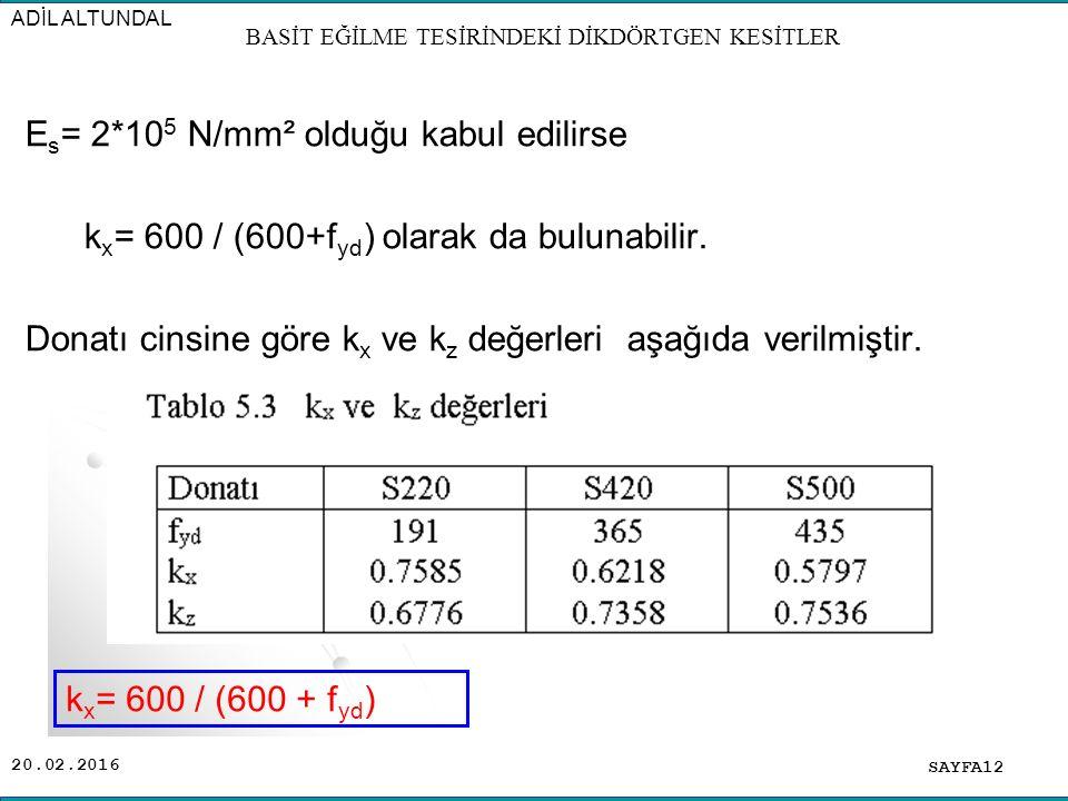 20.02.2016 SAYFA12 ADİL ALTUNDAL BASİT EĞİLME TESİRİNDEKİ DİKDÖRTGEN KESİTLER E s = 2*10 5 N/mm² olduğu kabul edilirse k x = 600 / (600+f yd ) olarak da bulunabilir.