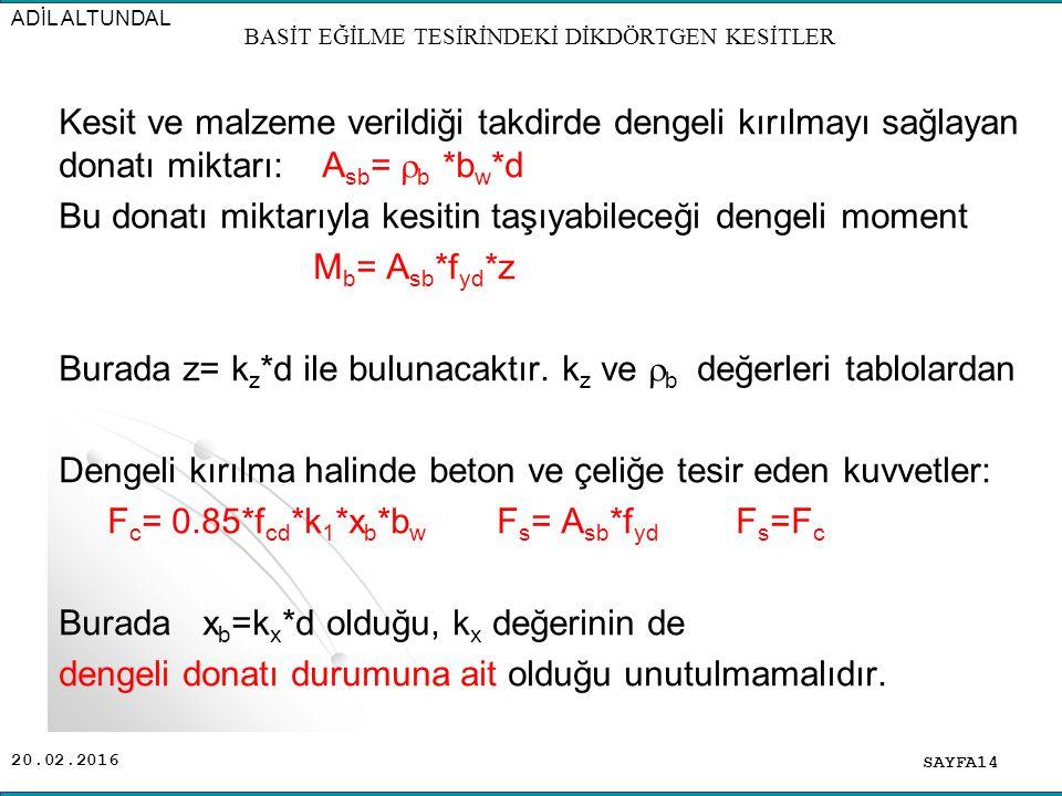 20.02.2016 Kesit ve malzeme verildiği takdirde dengeli kırılmayı sağlayan donatı miktarı: A sb =  b *b w *d Bu donatı miktarıyla kesitin taşıyabileceği dengeli moment M b = A sb *f yd *z Burada z= k z *d ile bulunacaktır.