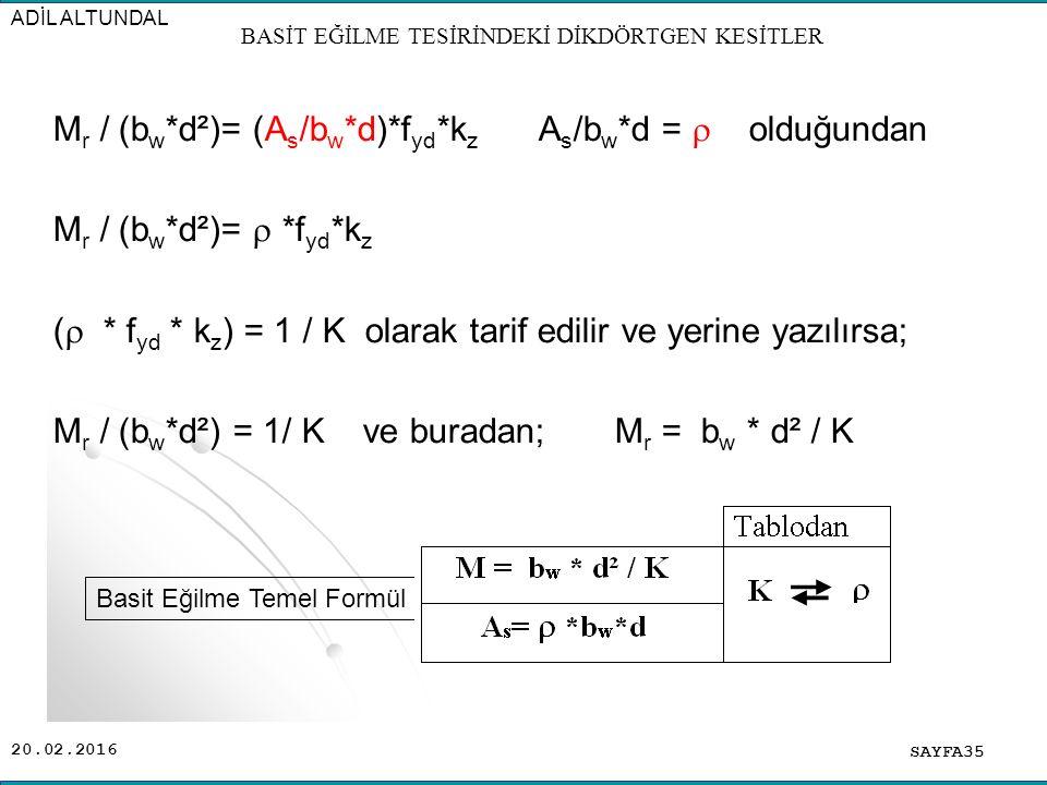 20.02.2016 M r / (b w *d²)= (A s /b w *d)*f yd *k z A s /b w *d =  olduğundan M r / (b w *d²)=  *f yd *k z (  * f yd * k z ) = 1 / K olarak tarif edilir ve yerine yazılırsa; M r / (b w *d²) = 1/ K ve buradan; M r = b w * d² / K SAYFA35 ADİL ALTUNDAL BASİT EĞİLME TESİRİNDEKİ DİKDÖRTGEN KESİTLER Basit Eğilme Temel Formül