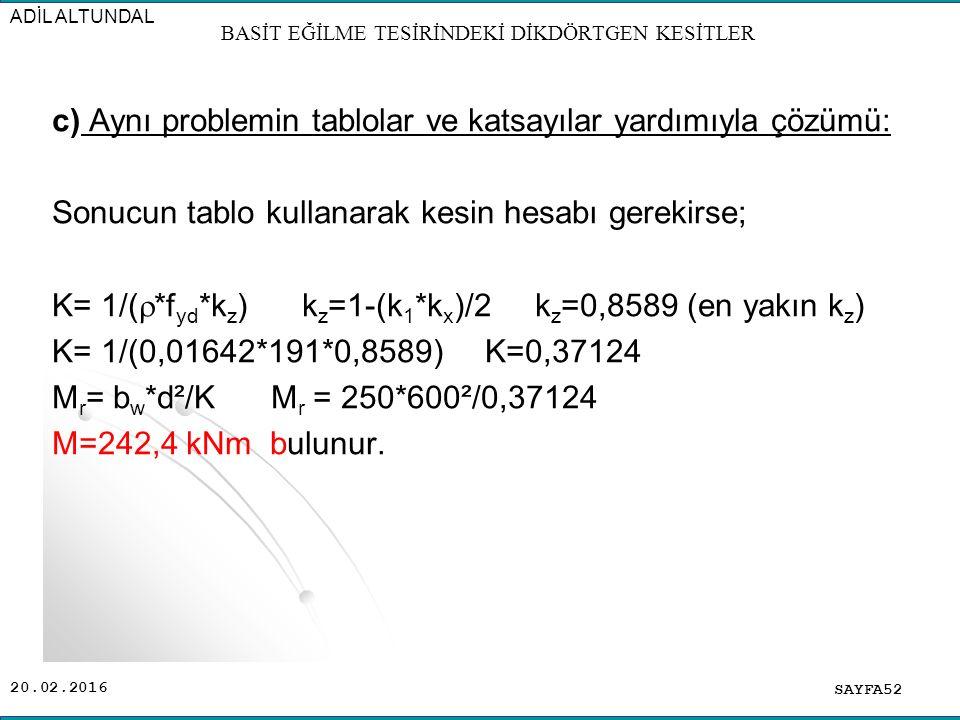 20.02.2016 c) Aynı problemin tablolar ve katsayılar yardımıyla çözümü: Sonucun tablo kullanarak kesin hesabı gerekirse; K= 1/(  *f yd *k z ) k z =1-(k 1 *k x )/2 k z =0,8589 (en yakın k z ) K= 1/(0,01642*191*0,8589) K=0,37124 M r = b w *d²/K M r = 250*600²/0,37124 M=242,4 kNm bulunur.
