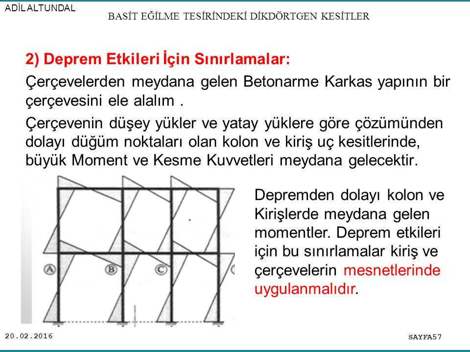 20.02.2016 2) Deprem Etkileri İçin Sınırlamalar: Çerçevelerden meydana gelen Betonarme Karkas yapının bir çerçevesini ele alalım.