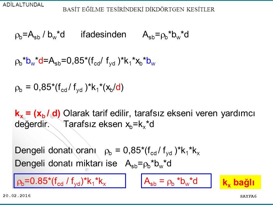 20.02.2016  b =A sb / b w *d ifadesinden A sb =  b *b w *d  b *b w *d=A sb =0,85*(f cd / f yd )*k 1 *x b *b w  b = 0,85*(f cd / f yd )*k 1 *(x b /d) k x = (x b / d) Olarak tarif edilir, tarafsız ekseni veren yardımcı değerdir.