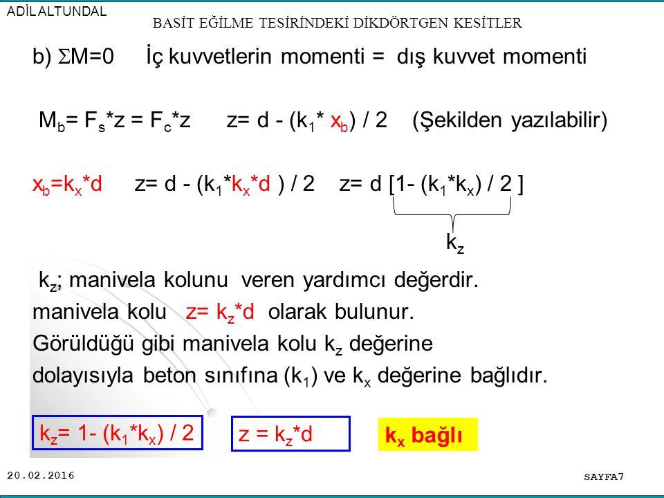 20.02.2016 b)  M=0 İç kuvvetlerin momenti = dış kuvvet momenti M b = F s *z = F c *z z= d - (k 1 * x b ) / 2 (Şekilden yazılabilir) x b =k x *d z= d - (k 1 *k x *d ) / 2 z= d [1- (k 1 *k x ) / 2 ] k z ; manivela kolunu veren yardımcı değerdir.