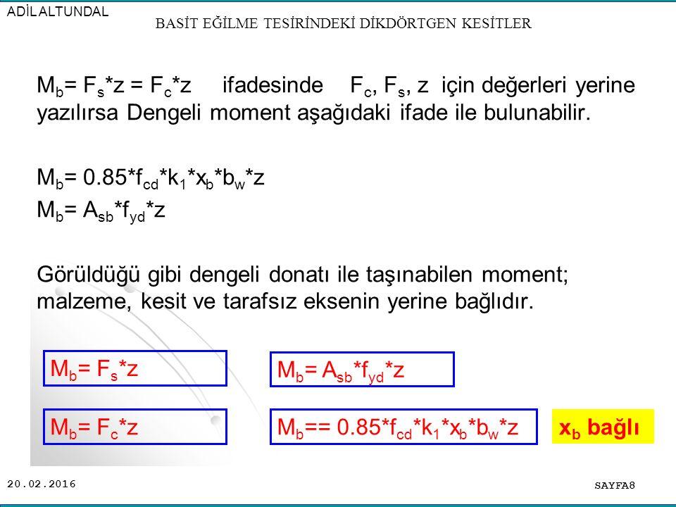 20.02.2016 Yatay denge şartı:  x= 0 ; F c =F s ; F c =  b *x* b w / 2 ; F s = A s *  e  M= 0 ; M= F c *z ; M=  b * x * b w * z / 2 ; z= d - x / 3 Deformasyon diyagramında uygunluk şartı: x /  b = (d-x) /(  e /n) = d / (  b +  e / n) x / d =  b / (  b +  e / n ) ; x = n *  b *d / (n *  b +  e ) k x = n *  b / ( n*  b +  e ) ; x= k x *d x= k x *d bulunduktan sonra yukarıdaki ifadelerden donatı ve moment bulunabilir.