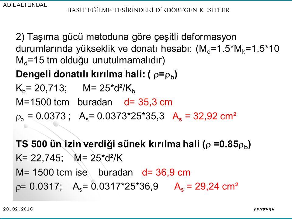 20.02.2016 2) Taşıma gücü metoduna göre çeşitli deformasyon durumlarında yükseklik ve donatı hesabı: (M d =1.5*M k =1.5*10 M d =15 tm olduğu unutulmamalıdır) Dengeli donatılı kırılma hali: (  =  b ) K b = 20,713; M= 25*d²/K b M=1500 tcm buradan d= 35,3 cm  b = 0.0373 ; A s = 0.0373*25*35,3 A s = 32,92 cm² TS 500 ün izin verdiği sünek kırılma hali (  =0.85  b ) K= 22,745; M= 25*d²/K M= 1500 tcm ise buradan d= 36,9 cm  = 0.0317; A s = 0.0317*25*36,9 A s = 29,24 cm² SAYFA95 ADİL ALTUNDAL BASİT EĞİLME TESİRİNDEKİ DİKDÖRTGEN KESİTLER