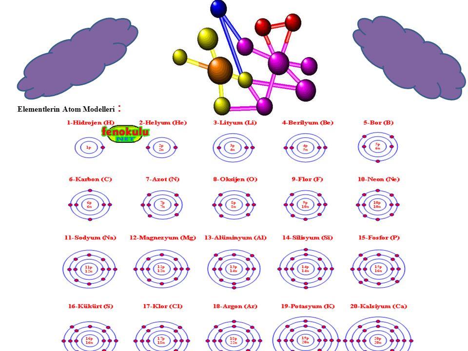 Elementlerin Atom Modelleri :