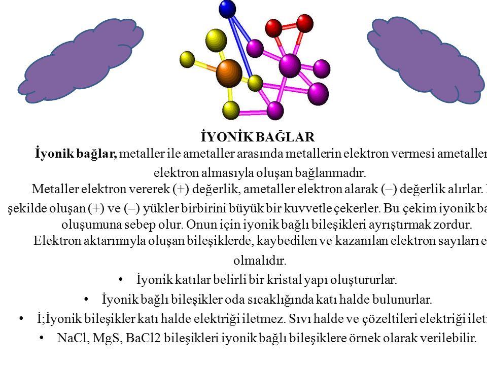 KOVALENT BAĞLAR Hidrojenin ametallerle ya da ametallerin kendi aralarında elektronlarını ortaklaşa kullanarak oluşturulan bağa kovalent bağ denir.