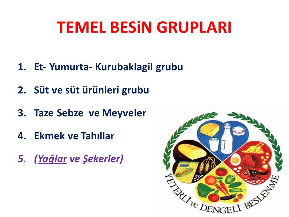 TEMEL BESiN GRUPLARI 1.Et- Yumurta- Kurubaklagil grubu 2.Süt ve süt ürünleri grubu 3.Taze Sebze ve Meyveler 4.Ekmek ve Tahıllar 5.(Yağlar ve Şekerler)