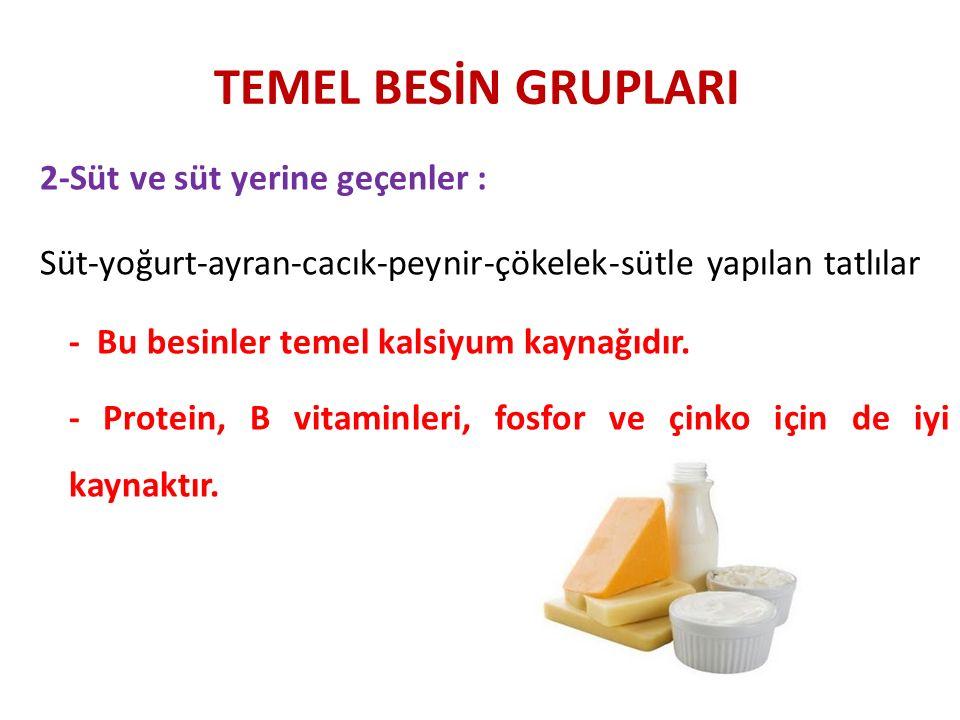 TEMEL BESİN GRUPLARI 2-Süt ve süt yerine geçenler : Süt-yoğurt-ayran-cacık-peynir-çökelek-sütle yapılan tatlılar - Bu besinler temel kalsiyum kaynağıd