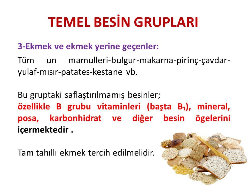 TEMEL BESİN GRUPLARI 3-Ekmek ve ekmek yerine geçenler: Tüm un mamulleri-bulgur-makarna-pirinç-çavdar- yulaf-mısır-patates-kestane vb. Bu gruptaki safl