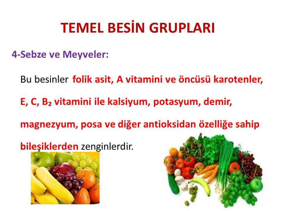 TEMEL BESİN GRUPLARI 4-Sebze ve Meyveler: Bu besinler folik asit, A vitamini ve öncüsü karotenler, E, C, B₂ vitamini ile kalsiyum, potasyum, demir, ma