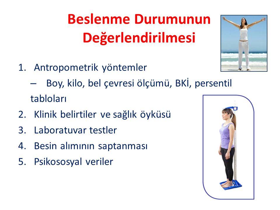 Beslenme Durumunun Değerlendirilmesi 1.Antropometrik yöntemler – Boy, kilo, bel çevresi ölçümü, BKİ, persentil tabloları 2.Klinik belirtiler ve sağlık