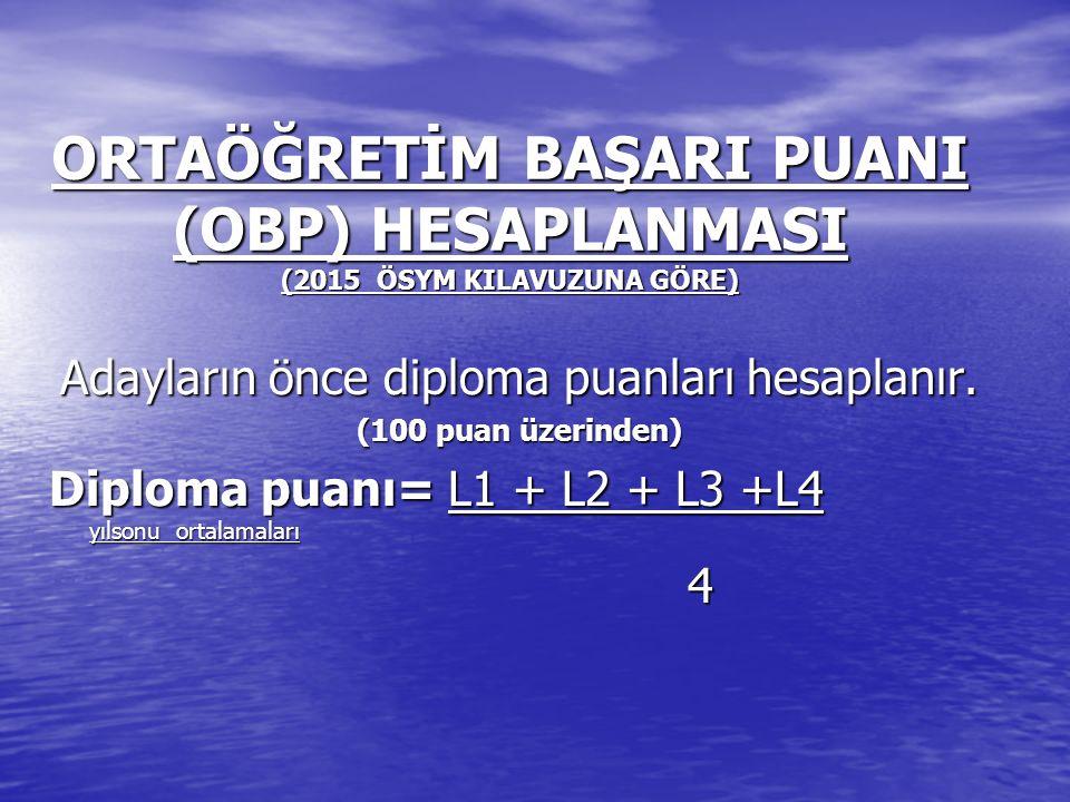 ORTAÖĞRETİM BAŞARI PUANI (OBP) HESAPLANMASI (2015 ÖSYM KILAVUZUNA GÖRE) Adayların önce diploma puanları hesaplanır. (100 puan üzerinden) Diploma puanı