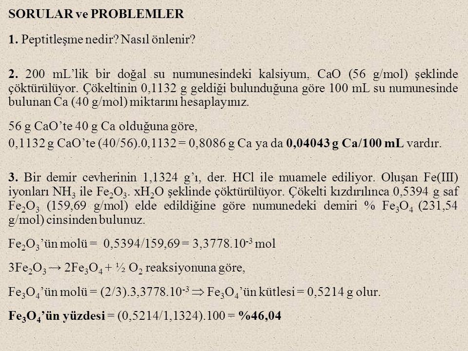 SORULAR ve PROBLEMLER 1. Peptitleşme nedir? Nasıl önlenir? 2. 200 mL'lik bir doğal su numunesindeki kalsiyum, CaO (56 g/mol) şeklinde çöktürülüyor. Çö