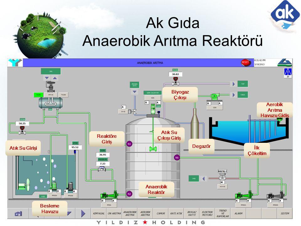 Ak Gıda Anaerobik Arıtma Reaktörü Atık Su Girişi Besleme Havuzu Anaerobik Reaktör Reaktöre Giriş Atık Su Çıkışı Giriş Biyogaz Çıkışı Degazör İlk Çökel