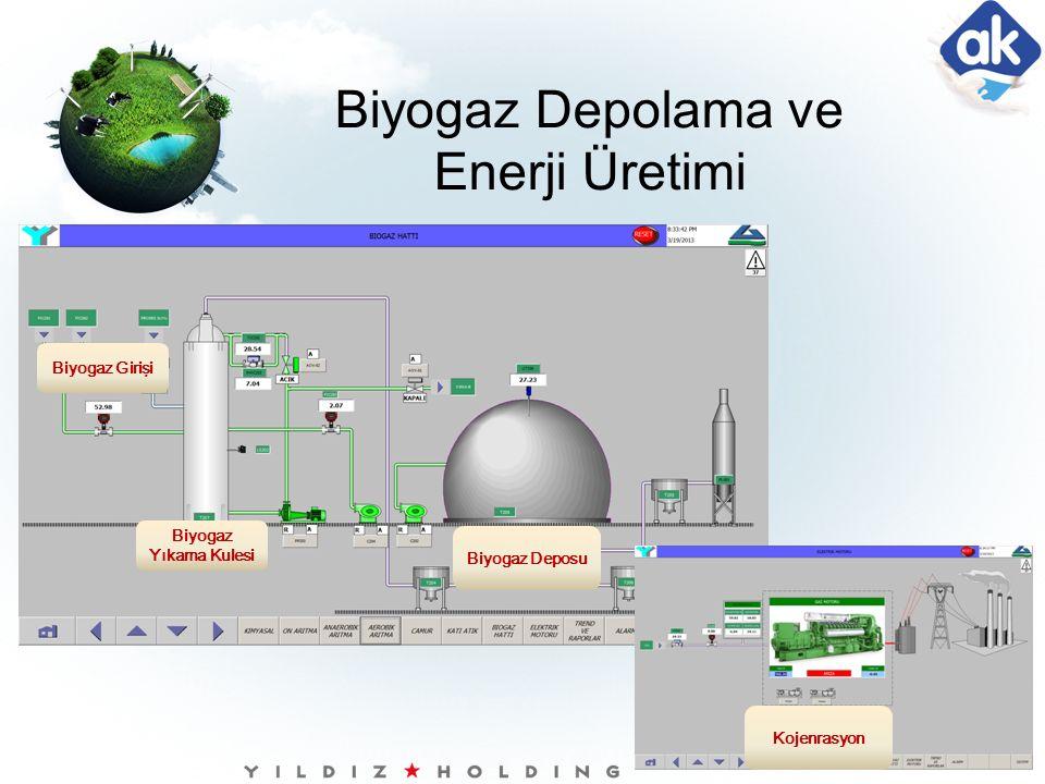 Biyogaz Girişi Biyogaz Yıkama Kulesi Kojenrasyon Biyogaz Depolama ve Enerji Üretimi Biyogaz Deposu