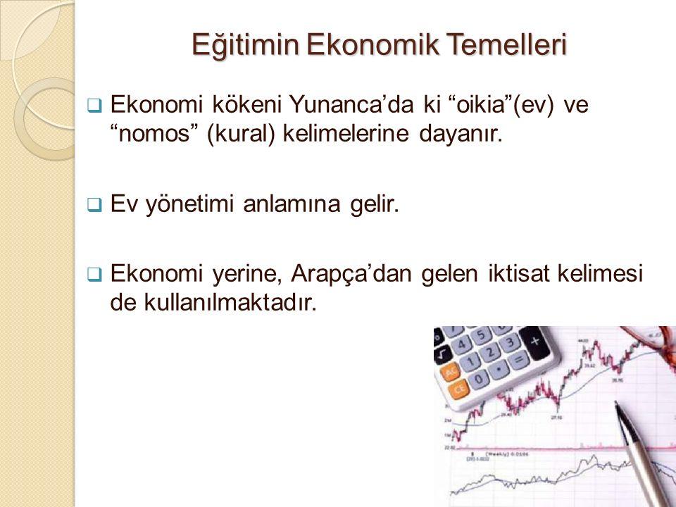 Eğitimin Ekonomik Temelleri  Ekonomi kökeni Yunanca'da ki oikia (ev) ve nomos (kural) kelimelerine dayanır.