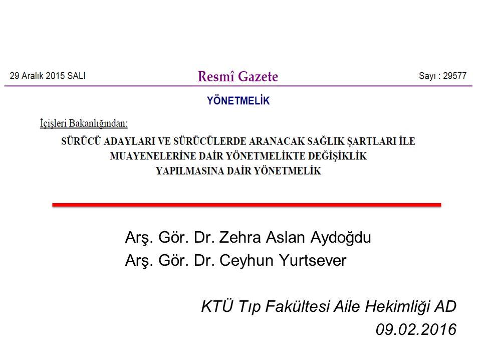 Arş. Gör. Dr. Zehra Aslan Aydoğdu Arş. Gör. Dr. Ceyhun Yurtsever KTÜ Tıp Fakültesi Aile Hekimliği AD 09.02.2016